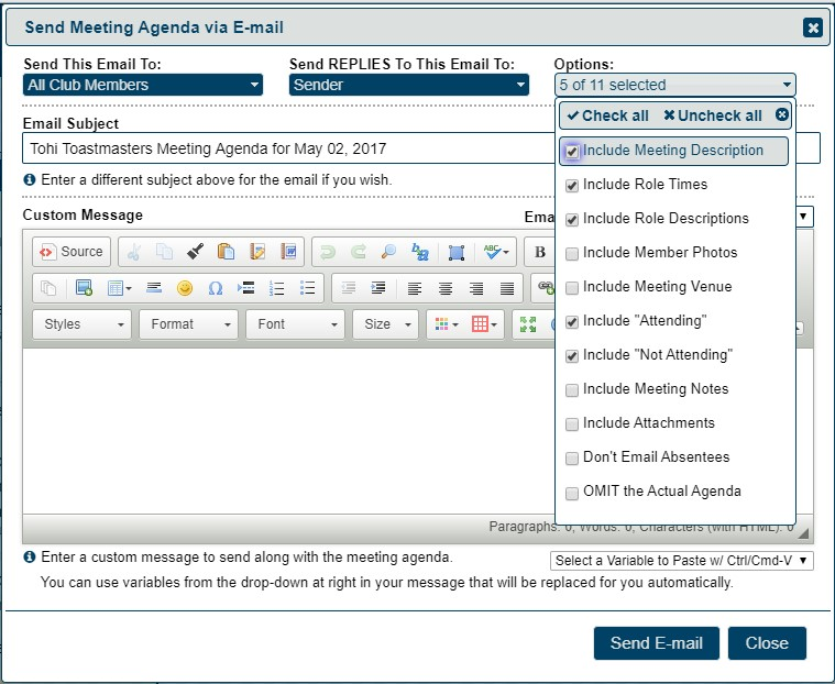Freetoasthost 3 Printing And Emailing Agendas