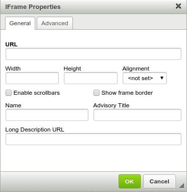 Iframe dialogue box