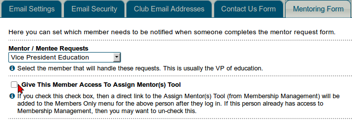 Give access to mentor management area