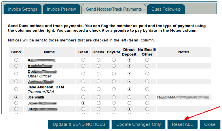 Send notices and track payments tab