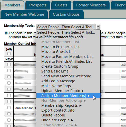 Accessing mentor area