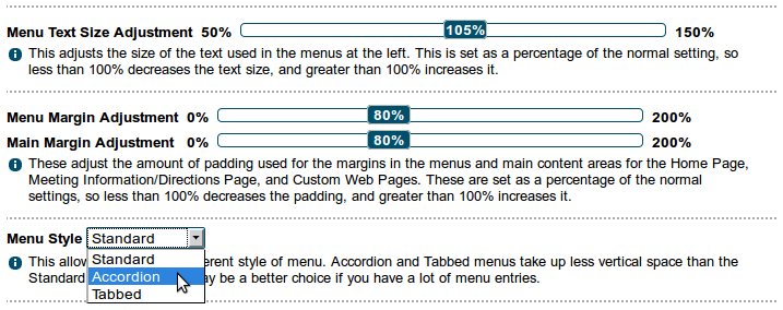 Text and margin size adjustments