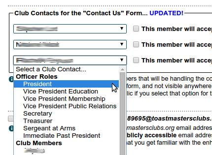 "Setting club contacts for the ""Contact Us"" form"