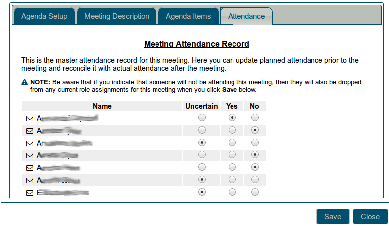 Meeting attendance record