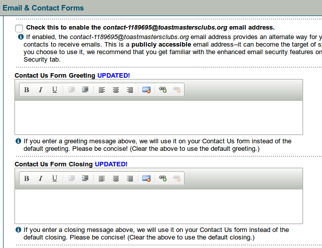Contact form greeting and closing settings