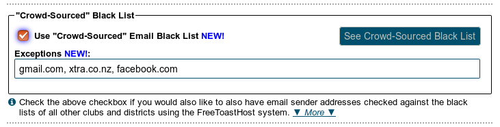 "Use ""crowd-sourced"" email blacklist option"