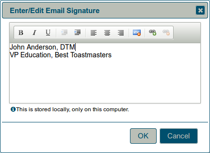 Enter or edit email signature