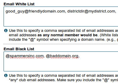 Email white and black list settings