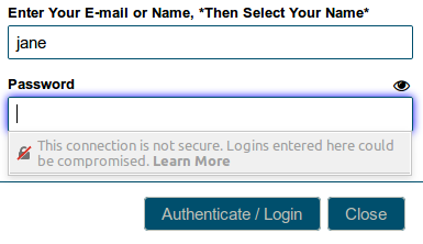 Insecure login warning in Firefox