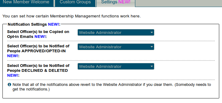 Membership management settings tab
