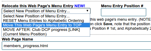 Select position of menu entry