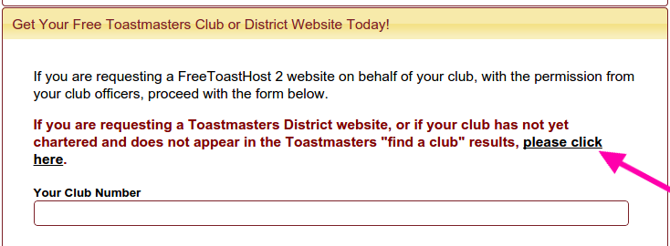 Site request form, showing unchartered club link