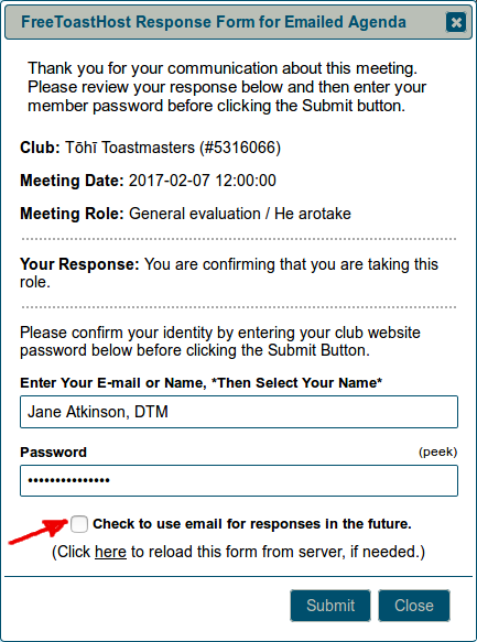 Password screen for confirming roles