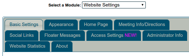 Website settings